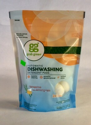 dish deterget, pods, tangerine & lemongrass, 32 count; grab green