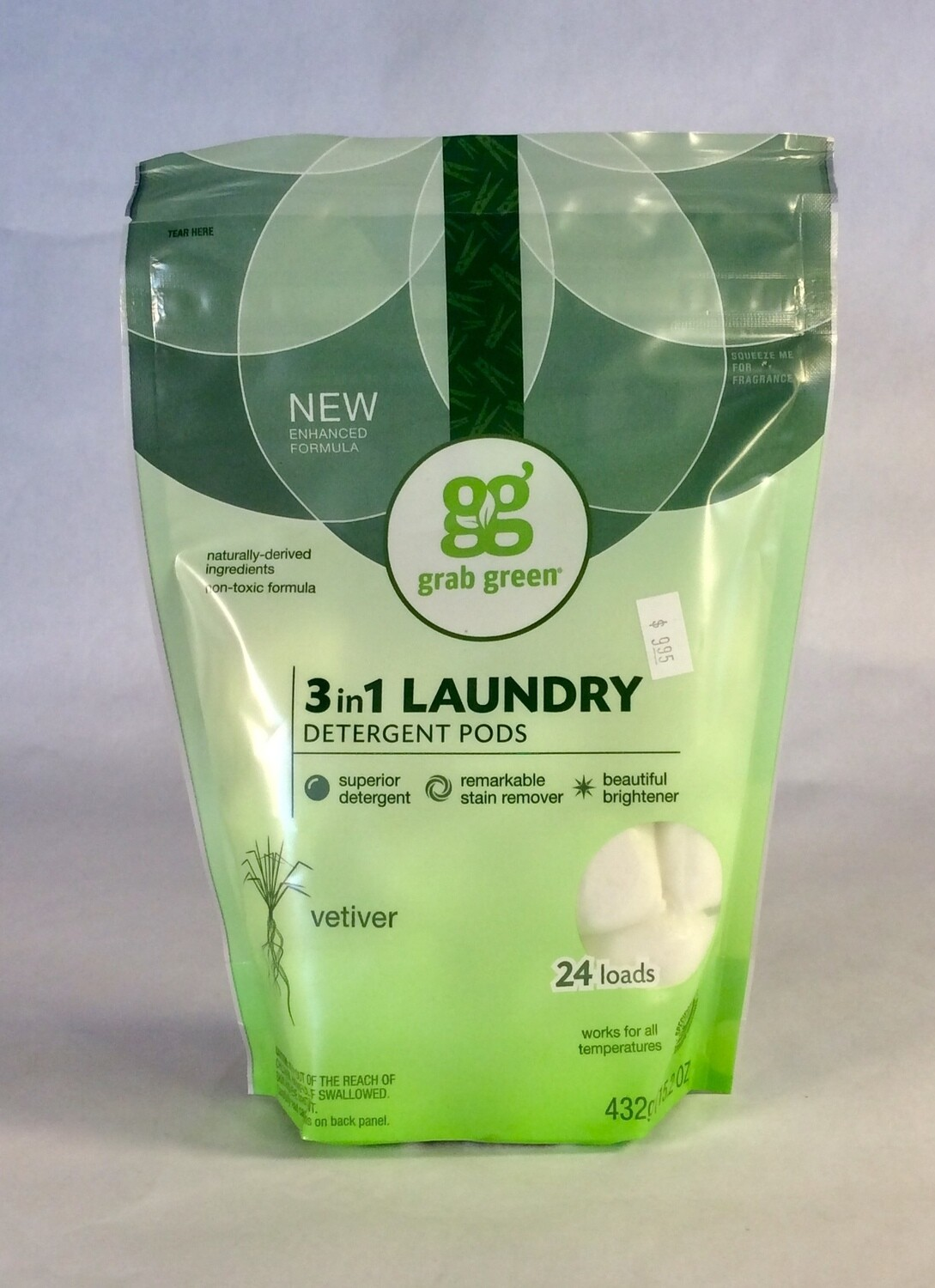 detergent, laundry, pods, vetiver, 24 count; each; grab green