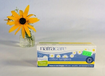 tampons, regular, 20 pack; each; Natracare