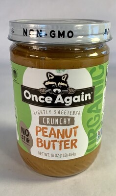 peanut butter, crunchy, organic; 16 ounce; Once Again
