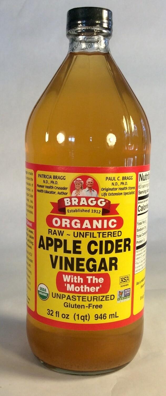 vinegar, apple cider, 32 ounce; each; Braggs