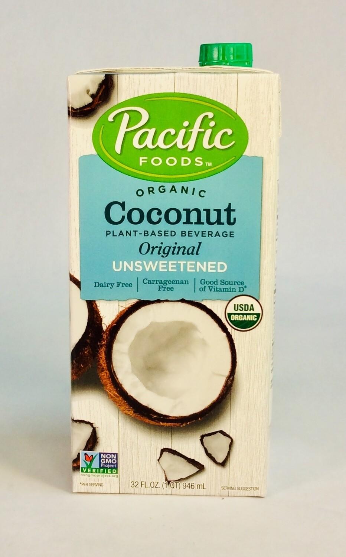 coconut milk, unsweetened, organic; 32oz; Pacific