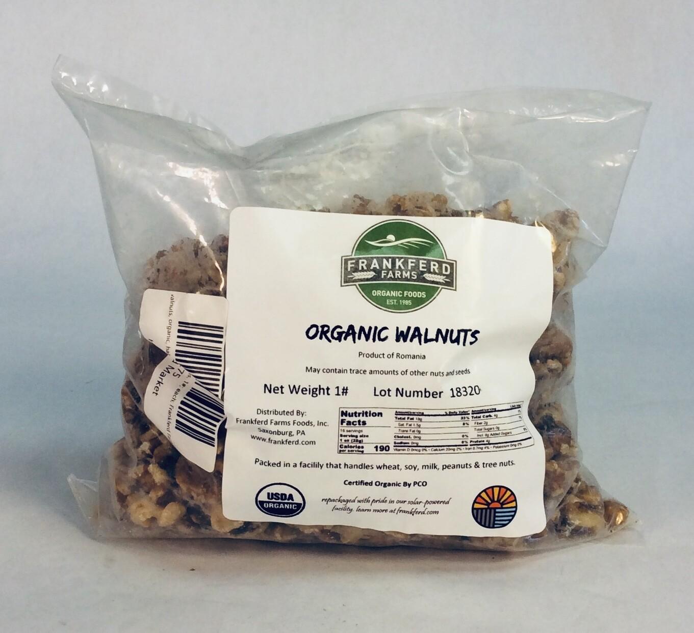 walnuts, organic, halves & pieces, 1#; each; Frankferd Farms