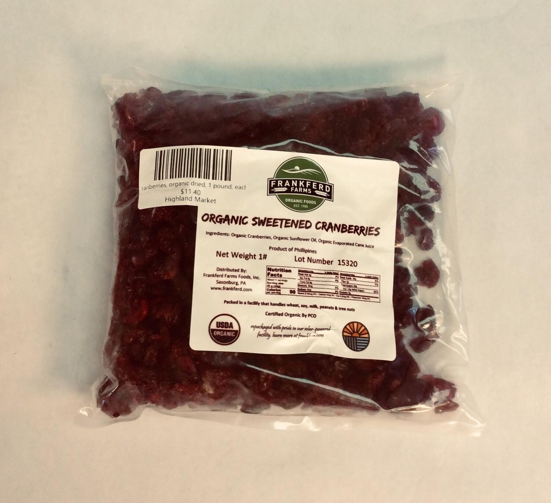cranberries, organic dried, 1 pound; each