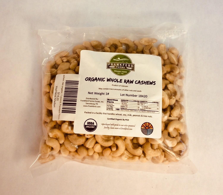 cashews, raw organic; 1 pound; Frankerd Farms