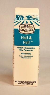 half and half, 32 ounce; each; Wholesome Farms