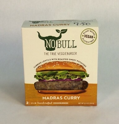 madras curry, veggie burger, gluten-free, vegan; No Bull
