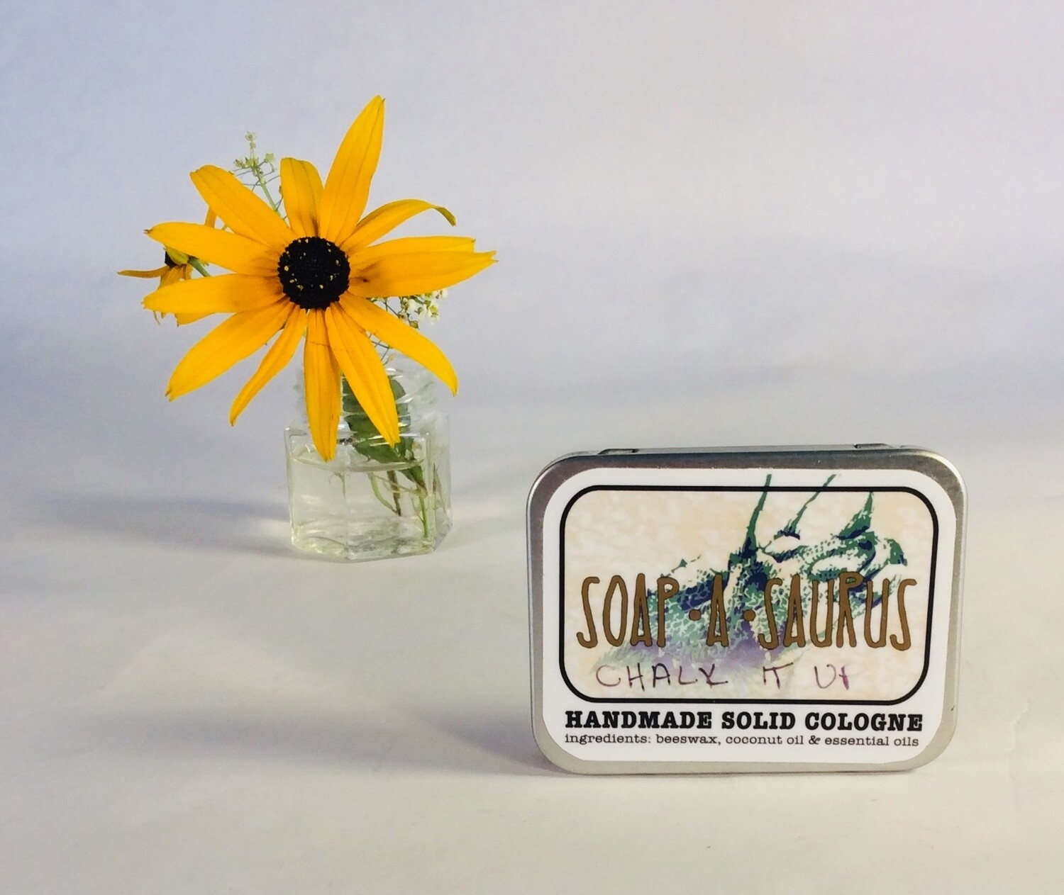 cologne, solid, all-natural, handmade, Chalk It Up scent; Soap-A-Saurus; each