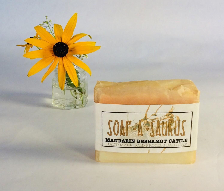 soap, bar, all-natural, handmade, Mandarin Bergamot Castile; Soap-A-Saurus; each
