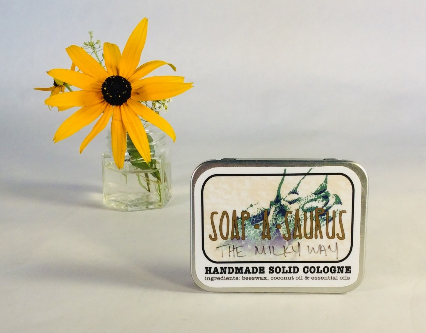 cologne, solid, all-natural, handmade, The Milky Way scent; Soap-A-Saurus; each