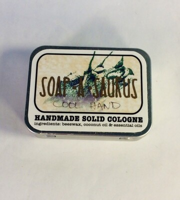 cologne, solid, all-natural, handmade, Cool Hand scent; Soap-A-Saurus; each