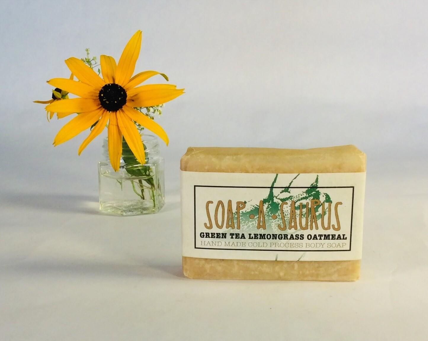 soap, bar, all-natural, handmade, Green Tea Lemongrass Oatmeal; Soap-A-Saurus; each
