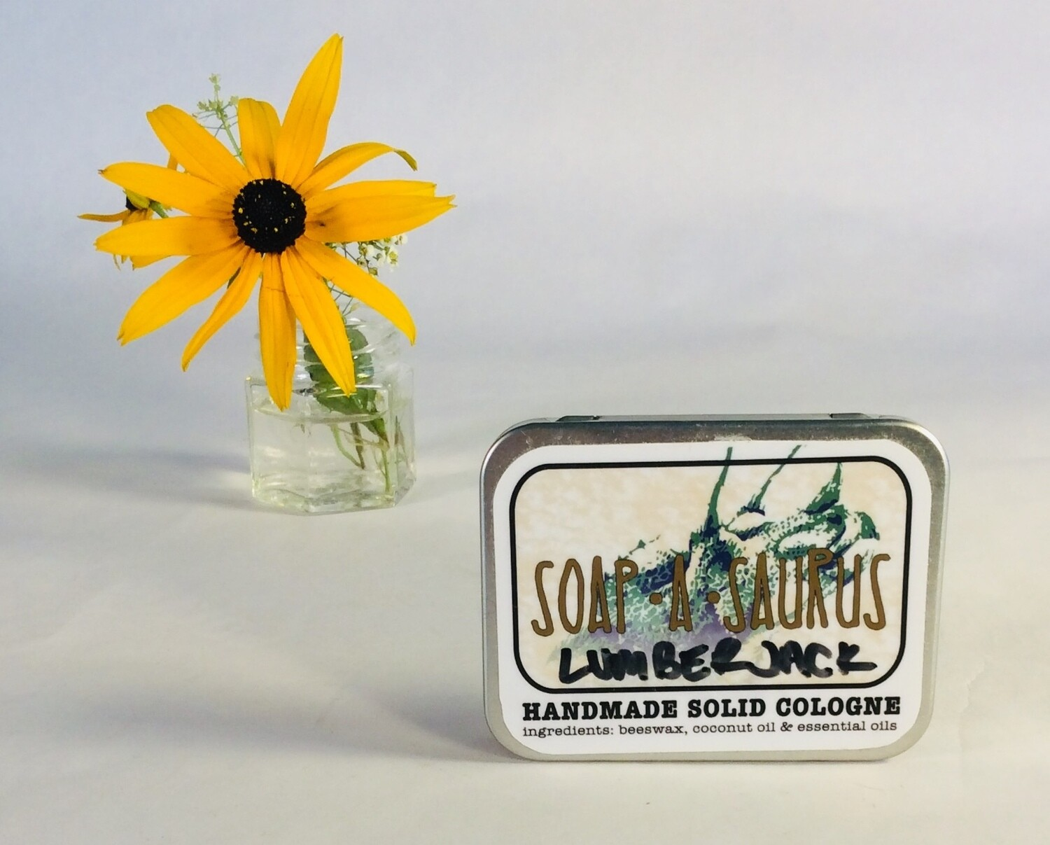 cologne, solid, all-natural, handmade, Lumberjack scent; Soap-A-Saurus; each