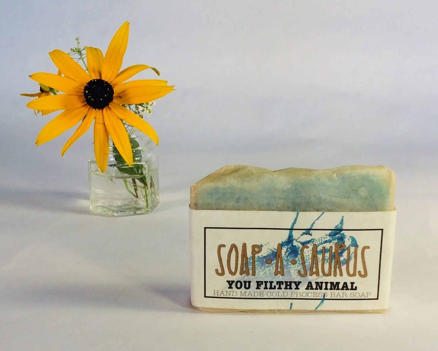 soap, solid, all-natural, handmade, You Filthy Animal scent; Soap-A-Saurus; each