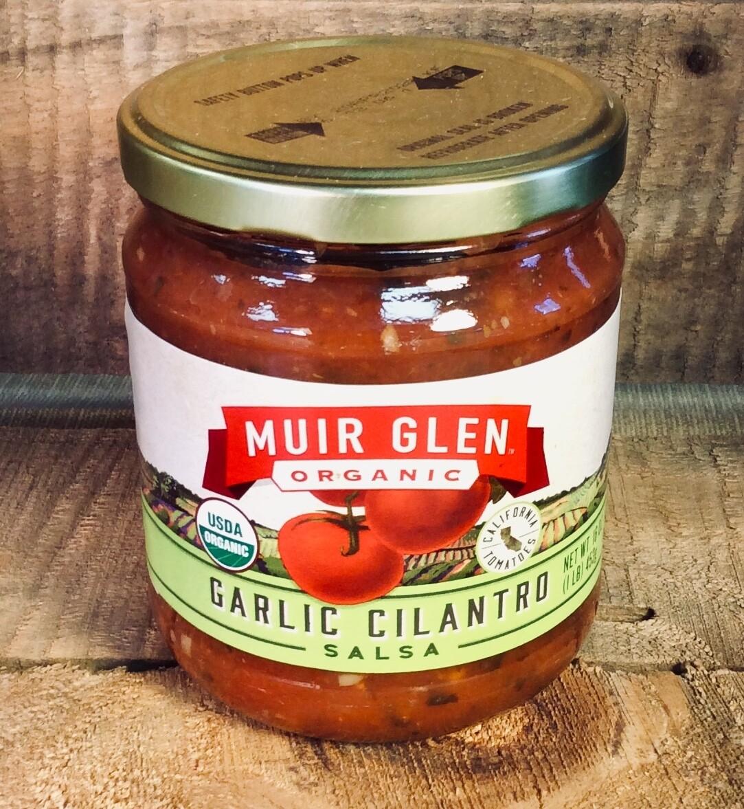 Salsa, organic, garlic cilantro, 16 ounce; each; Muir Glen