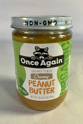 peanut butter, creamy, organic, 16 ounce; each; Once Again
