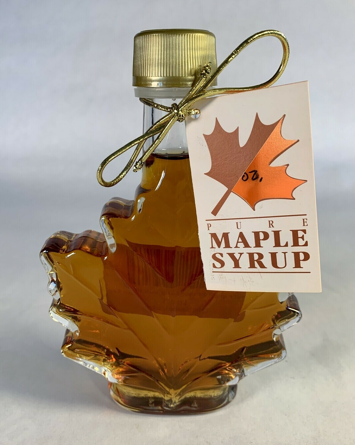 maple syrup, 3.4 oz glass maple leaf bottle; Maple Ridge Farm