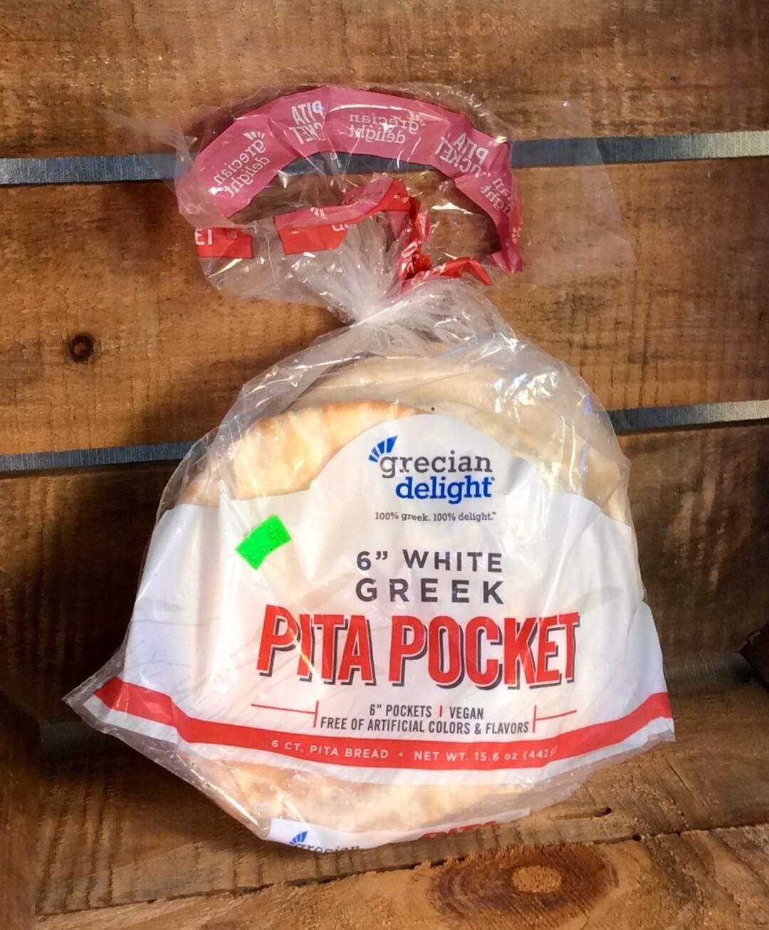 bread, pita, white; 6 count; Pocket Pita