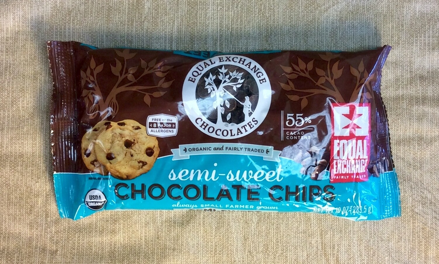 chocolate chips, semi-sweet, organic, fair trade; 10 ounce, Equal Exchange