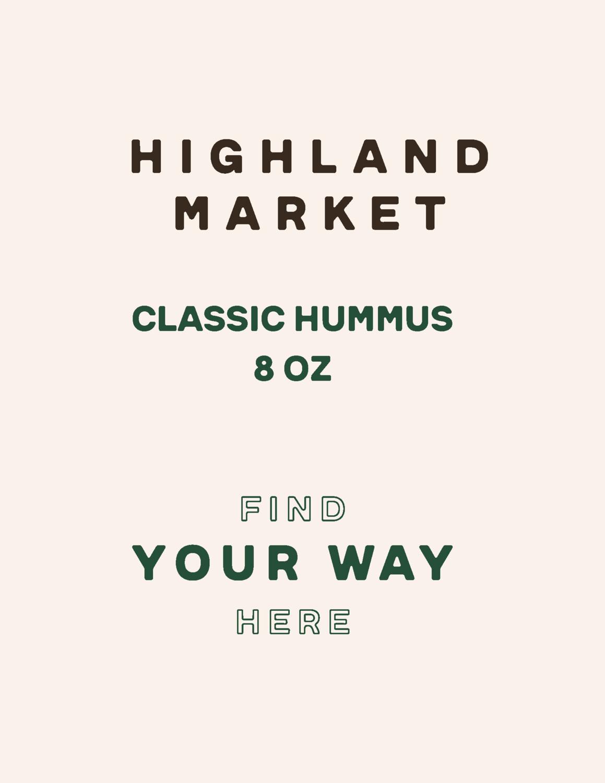 hummus, classic, frozen, 8 ounces; each; Highland Market