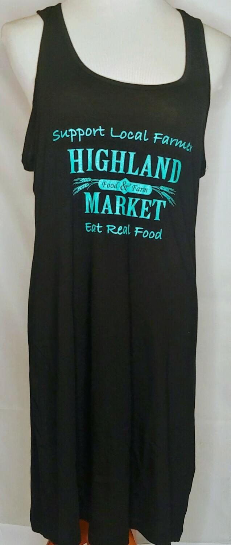 tank dress, black/turquoise; Highland Market