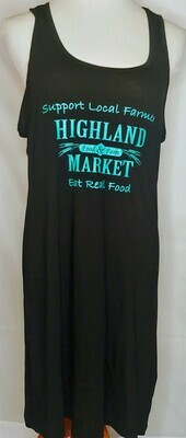 tank dress, black/turquoise; Highland Market