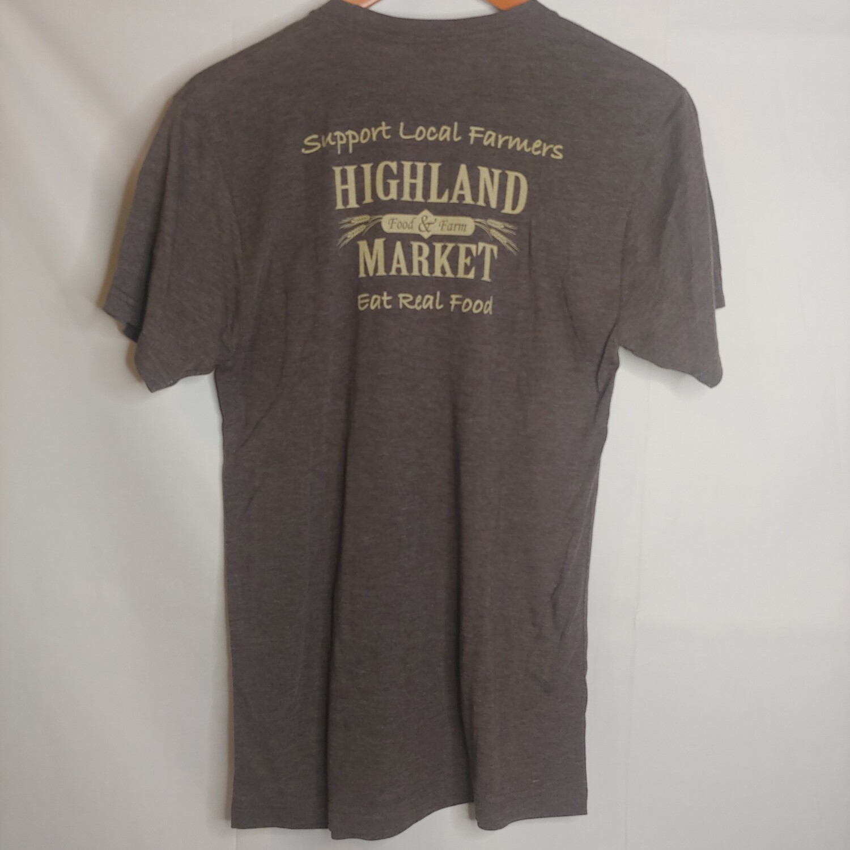 t shirt, adult, brown; Highland Market