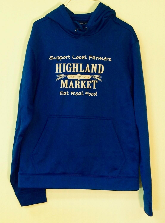hoodie, blue, sport-tec polyester; Highland Market