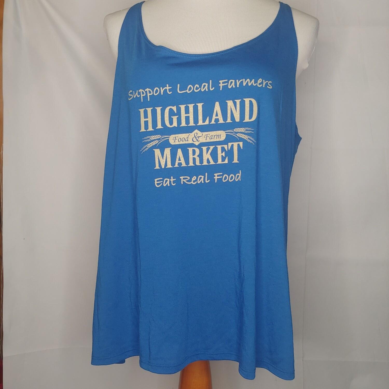 tank top, blue/tan; Highland Market