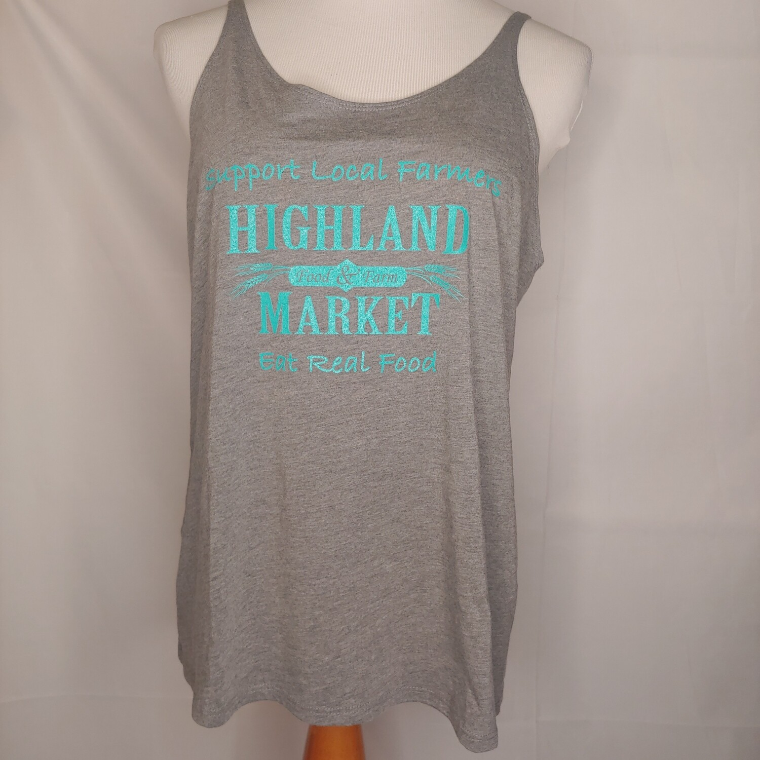 tank top, gray/turquoise; Highland Market