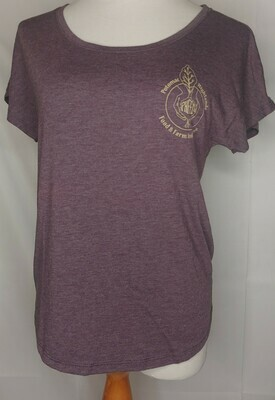 t shirt, women's, purple dolman; Highland Market