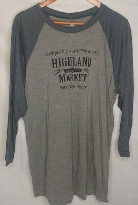 shirt, raglan baseball; Highland Market