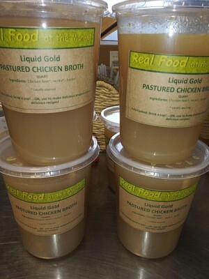 broth, chicken, liquid gold, frozen; quart; Real Foods