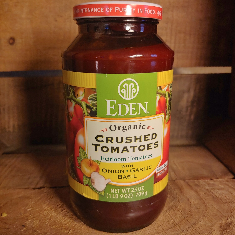 tomatoes, crushed, organic, onion, garlic, basil:25oz; Eden