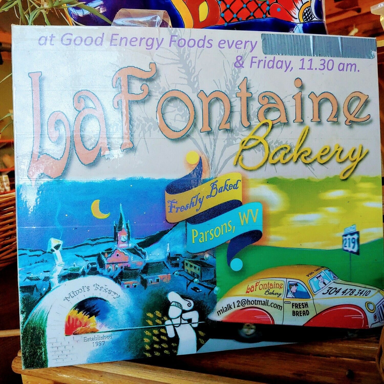 bread, whole wheat sesame, frozen, large loaf; La Fontaine