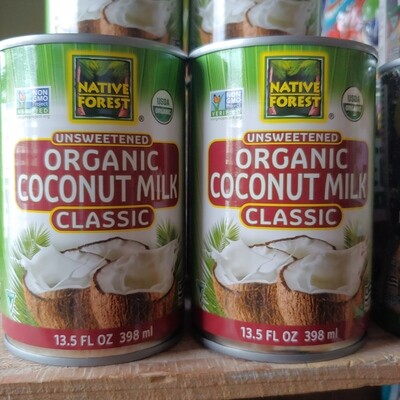 coconut milk, organic; 15oz can; each; Native Forest