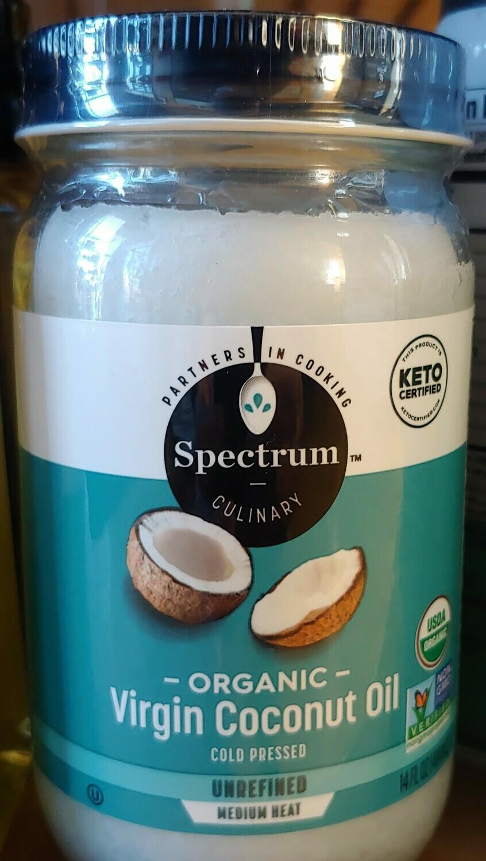 oil, coconut, virgin, unrefined, organic; 14oz; Spectrum