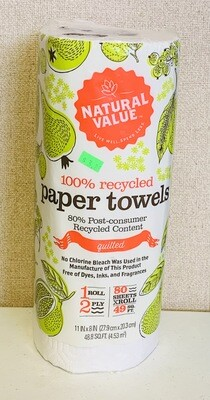 paper towels, recycled; each; Natural Value