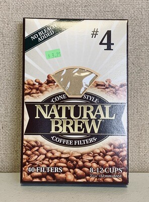 filters, coffee, no bleach, cone style #4; each; Natural Brew