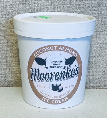 ice cream, coconut almond, ultra premium, handmade, small batches; pint; Moorenko's
