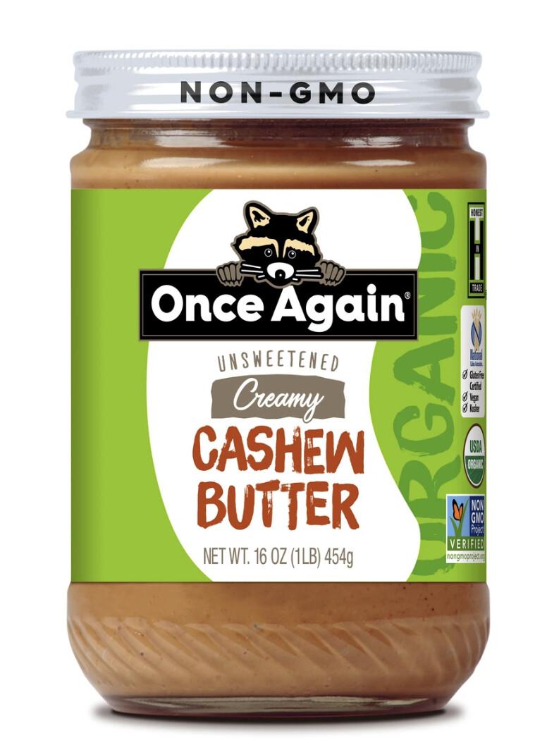 cashew butter, organic, 16 ounce; each; once again