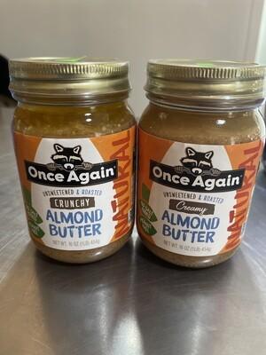 almond butter, crunchy, no salt, peanut free; 16oz; Once Again