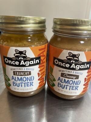 almond butter, creamy, no salt added, no stir, organic; 16oz; Once Again