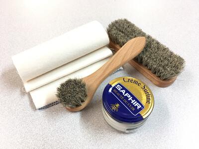 4 Piece Shoe Care Kit - Includes Saphir Cream Polish