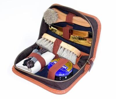 8 Piece Shoe Shine Kit Set - Saphir Cream Polish Included