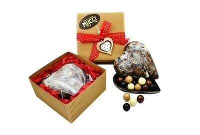 Cuore di Cioccolato Fondente con Dragées assortiti al Liquore 350gr