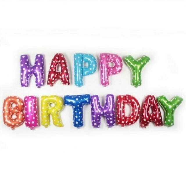 """14"""" HAPPY BIRTHDAY Colorful Set Letter Foil Balloon - 13 Letters"""