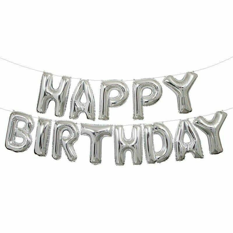 "14"" HAPPY BIRTHDAY Silver Set Letter Foil Balloon"