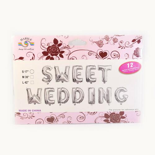 "14"" SWEET WEDDING Silver Set Letter Foil Balloon - 12 Letters"