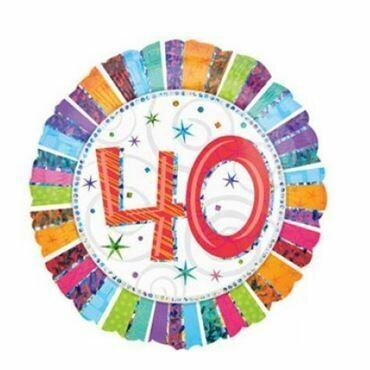 Holographic Radiant Birthday 40 Balloon